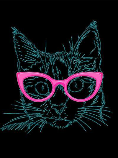 Black Hipster Cat With Pink Glasses-Wonderful Dream-Art Print