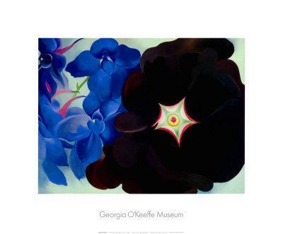 Black Hollyhock Blue Larkspur, 1930-Georgia O'Keeffe-Art Print