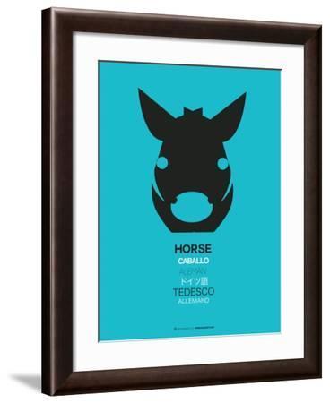 Black Horse Multilingual Poster-NaxArt-Framed Art Print