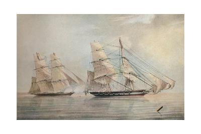 Black Joke engaging the Spanish Slave Brig El Almirante, 1 February 1829, 1830-Edward Duncan-Giclee Print