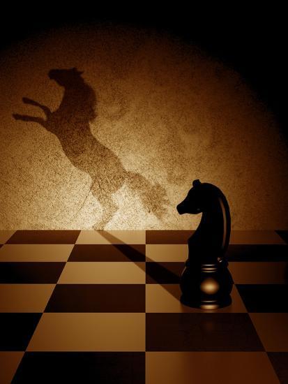 Black Knight With An Art Shadow As A Wild Horse-viperagp-Art Print