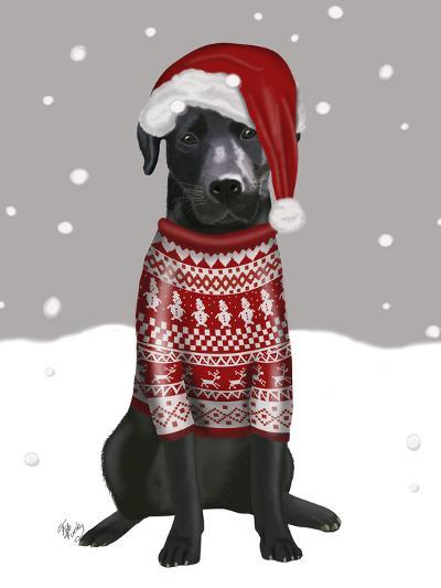 Black Labrador, Christmas Sweater 1-Fab Funky-Art Print