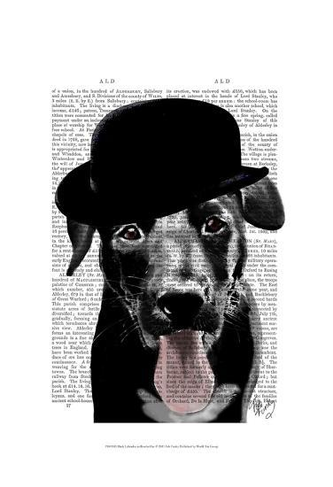 Black Labrador in Bowler Hat-Fab Funky-Art Print