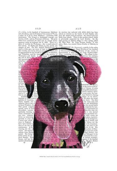 Black Labrador With Ear Muffs-Fab Funky-Art Print