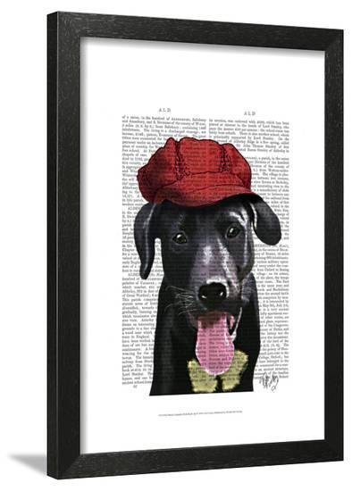 Black Labrador With Red Cap-Fab Funky-Framed Art Print
