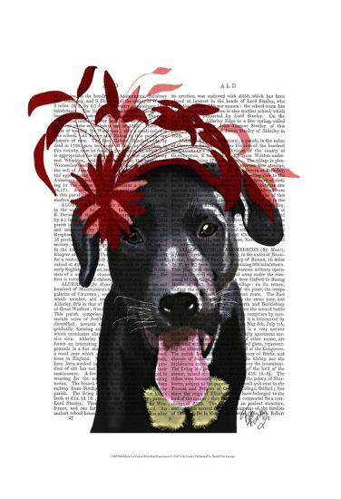 Black Labrador With Red Fascinator-Fab Funky-Art Print