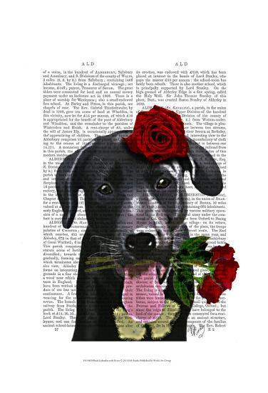Black Labrador with Roses-Fab Funky-Art Print