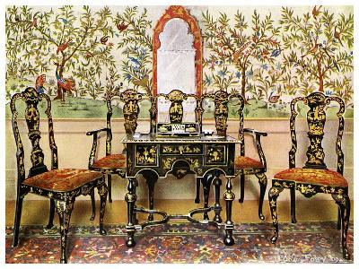 Black Lacquer Settee, Chairs and Table and Red Lacquer Mirror, 1910-Edwin Foley-Giclee Print