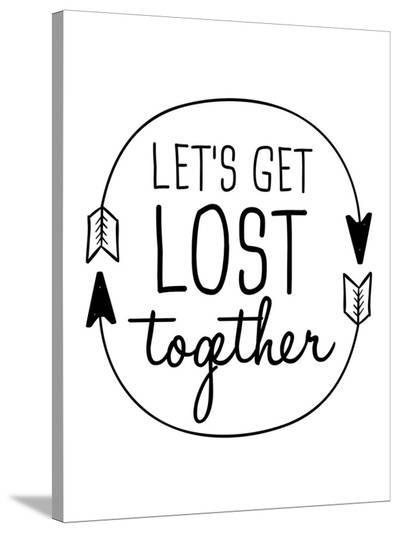 Black Let's Get Lost-Jetty Printables-Stretched Canvas Print