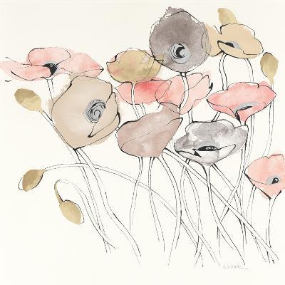 Black Line Poppies I Watercolor Neutral-Shirley Novak-Art Print