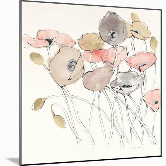 Black Line Poppies I Watercolor Neutral-Shirley Novak-Mounted Art Print