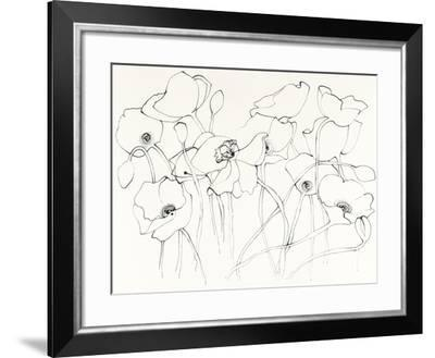 Black Line Poppies III-Shirley Novak-Framed Art Print
