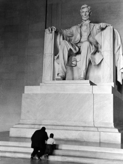 Black Man and Small Boy Kneeling Prayerfully on Steps on Front of Statue in the Lincoln Memorial-Thomas D^ Mcavoy-Photographic Print