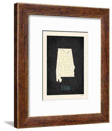 Black Map Alabama-Kindred Sol Collective-Framed Art Print