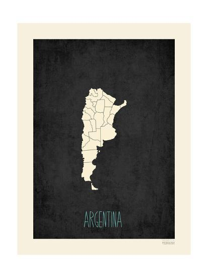 Black Map Argentina-Kindred Sol Collective-Art Print