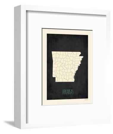 Black Map Arkansas-Kindred Sol Collective-Framed Art Print