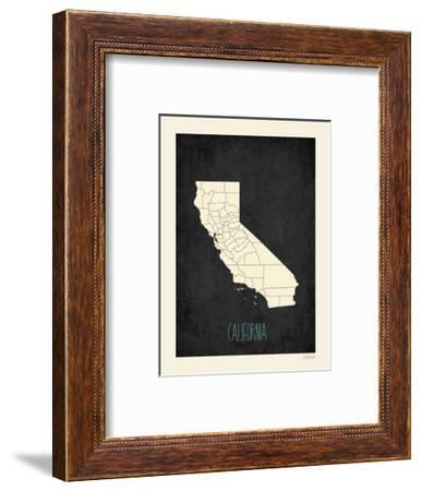 Black Map California-Kindred Sol Collective-Framed Art Print