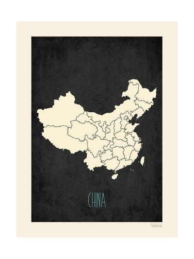 Black Map China-Kindred Sol Collective-Art Print