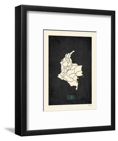 Black Map Colombia-Kindred Sol Collective-Framed Art Print