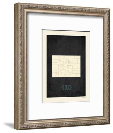 Black Map Colorado-Kindred Sol Collective-Framed Art Print