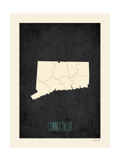 Black Map Connecticut-Rebecca Peragine-Art Print