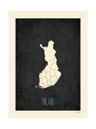 Black Map Finland-Rebecca Peragine-Art Print