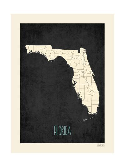 Black Map Florida-Kindred Sol Collective-Art Print