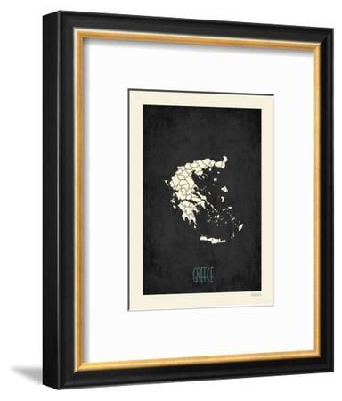 Black Map Greece-Kindred Sol Collective-Framed Art Print