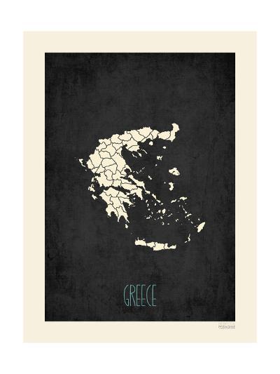 Black Map Greece-Rebecca Peragine-Art Print