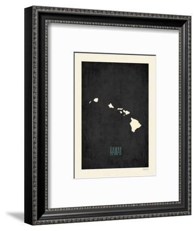 Black Map Hawaii-Kindred Sol Collective-Framed Art Print