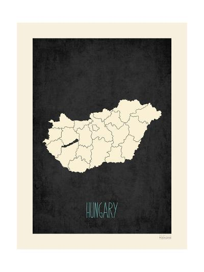 Black Map Hungary-Kindred Sol Collective-Art Print