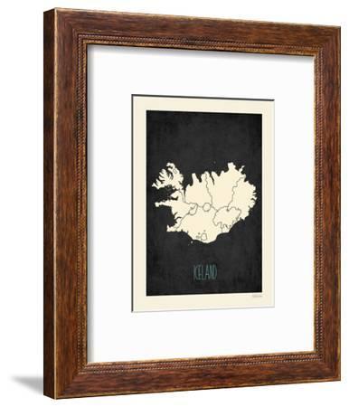 Black Map Iceland-Kindred Sol Collective-Framed Art Print