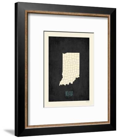 Black Map Indiana-Kindred Sol Collective-Framed Art Print