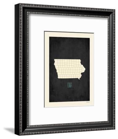 Black Map Iowa-Kindred Sol Collective-Framed Art Print