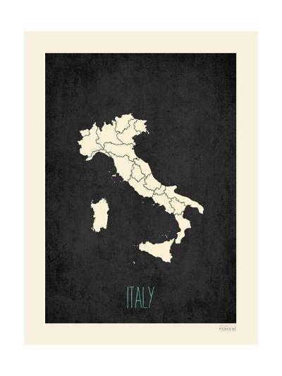 Black Map Italy-Kindred Sol Collective-Art Print