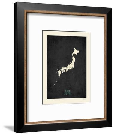 Black Map Japan-Kindred Sol Collective-Framed Art Print