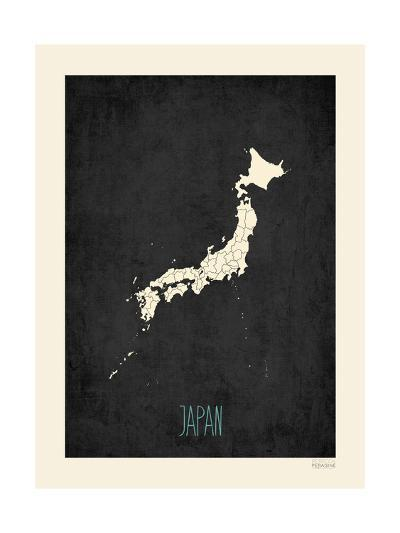 Black Map Japan-Rebecca Peragine-Art Print
