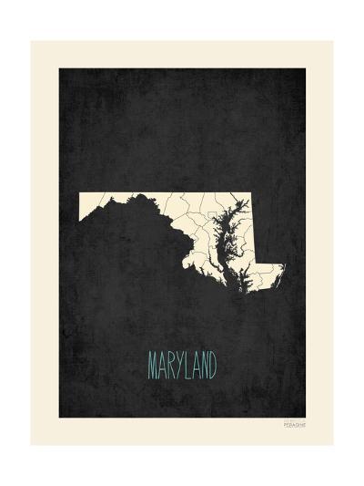 Black Map Maryland-Rebecca Peragine-Art Print