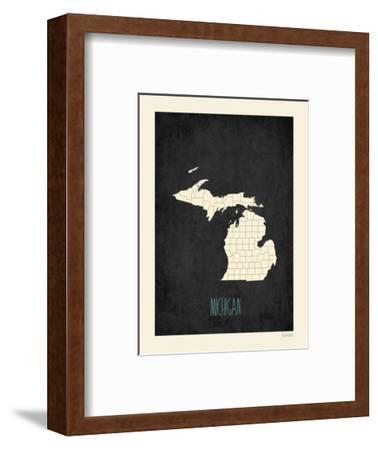 Black Map Michigan-Kindred Sol Collective-Framed Art Print
