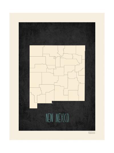 Black Map New Mexico--Art Print