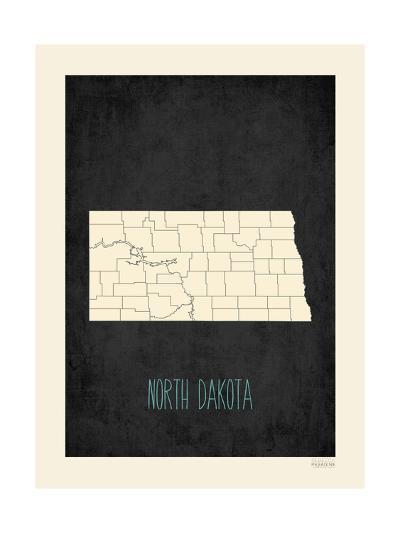 Black Map North Dakota-Kindred Sol Collective-Art Print