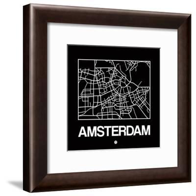 Black Map of Amsterdam-NaxArt-Framed Art Print