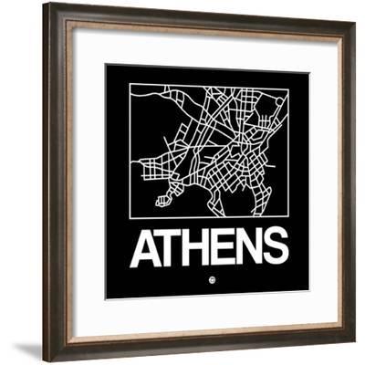 Black Map of Athens-NaxArt-Framed Premium Giclee Print