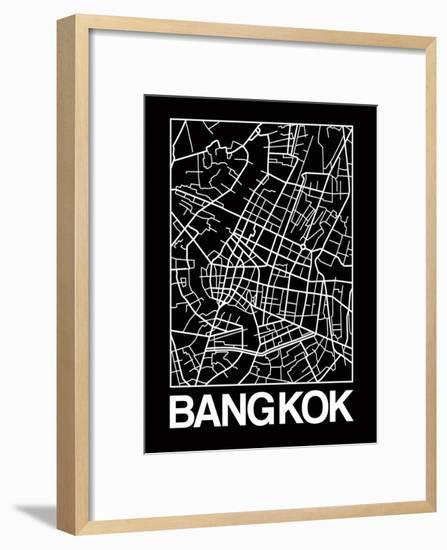 Black Map of Bangkok-NaxArt-Framed Art Print
