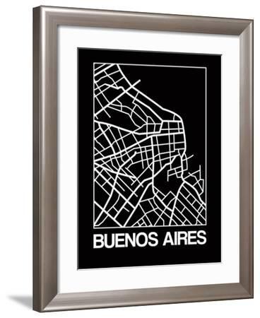 Black Map of Buenos Aires-NaxArt-Framed Art Print