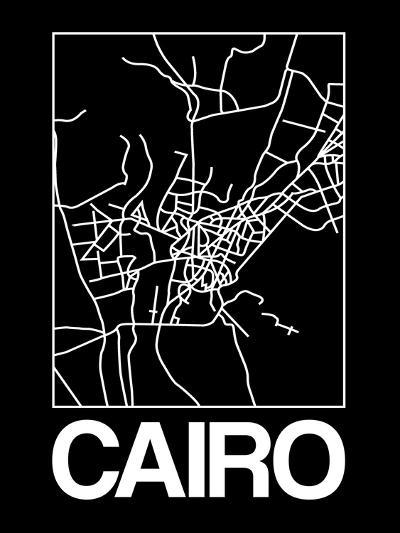 Black Map of Cairo-NaxArt-Art Print
