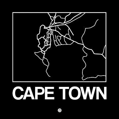 Black Map of Cape Town-NaxArt-Art Print