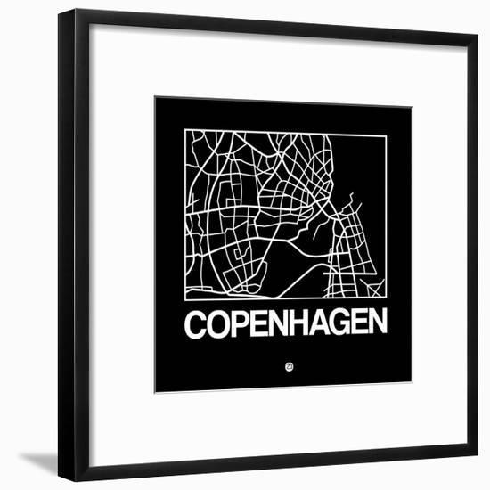 Black Map of Copenhagen-NaxArt-Framed Art Print