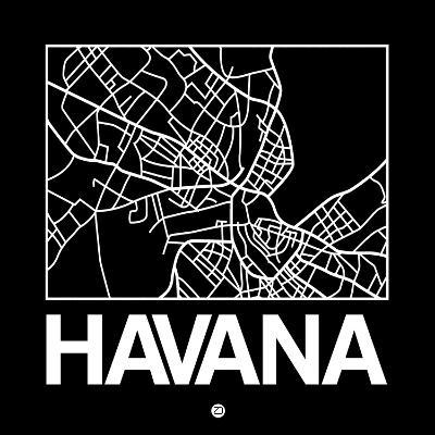 Black Map of Havana-NaxArt-Art Print