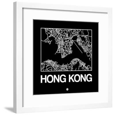 Black Map of Hong Kong-NaxArt-Framed Premium Giclee Print